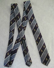 SKINNY TIE BUTLER AND WEBB VINTAGE RETRO SHIELD CREST EMBLEM PURPLE SILVER