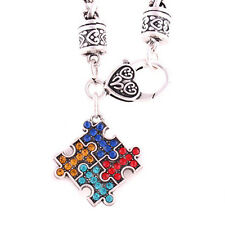 Autism Awareness Puzzle Bracelets Inspirational Crystal Charm Bracelet Warm Fine