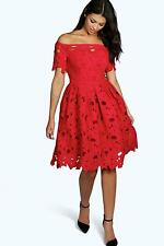 Boohoo Boutique Off Shoulder Lace Skater Dress DZZ97324 Red US 8 UK 12