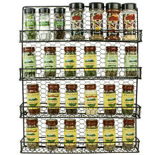 4 Tier Black Cabinet or Wall Mounted Spice Rack Storage Organizer