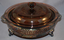 Round Chaffing Dish Serving Bowl Corning Ware Sterling Silverplate Stand