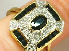 9ct Gold 9k Gold  Sapphire & Diamond Art Deco design heavy ring  4.2  Grams