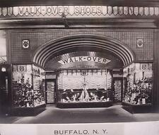Glass Lantern Slide 1930's Walk Over Shoes Buffalo New York Display Store Front
