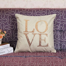 Vintage Love Letter Cotton Linen Throw Pillow Case Home Room Sofa Cushion Cover