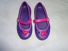 CROCS GIRLS SHOES SIZE C 1  PURPLE W/ PINK TRIM GREAT COND!!