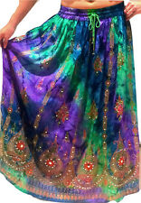 Ladies Indian Party Boho Gypsy Hippie Long Sequin Skirt Rayon Belly Dance r1