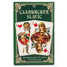 RUSSIAN SERIES - SLAVIC 55 PLAYING CARDS GREEN BOX 2.3x3.5''