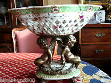 JARDINNIERE céramique porcelaine & métal 4,174kg ca39cml x28, 4cmh très bon état