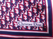 Christian Dior Echarpes Red White Blue 100% Silk Scarf