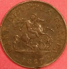 1857 Bank of Upper Canada Half Penny   ID #88-41