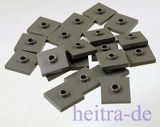LEGO - 20 x Fliese 2x2 mit Noppen in der Mitte dunkelgrau / 87580 NEUWARE