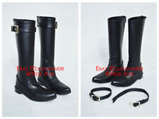 Military Leather Shoes Boots 1/3 1/4 Dollfie BJD SD DD DOD (Black / White)