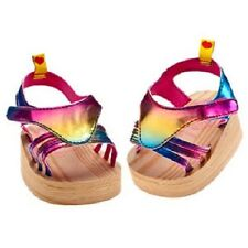 Build a Bear Iridescent Rainbow Wedge Heels Sandals Shoes NEW