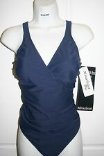 NWT Women's  MIRACLESUIT Navy blue Wrap one piece SWIMSUIT Size 14 Free Ship