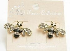 """3/4"""" Gold Toned, Black and Clear Rhinestone Bumble Bee Post Stud Earrings"""