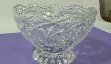 "Cut Glass footed Bowl 6 1/2"" Lead Crystal  Bowl pinwheels"