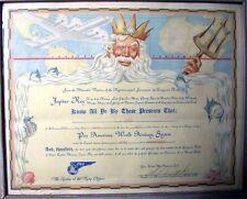 1949 Pan Am Airways Equator Crossing Cert. Signed by Stan Doepke, Veteran Pilot