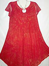 Dress Plus Size MuuMuu Red Gold Tie Dye Sz 1X 2X Free Shipping to US