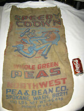 ANTIQUE SPEEDY COOK'N GREEN PEA COUNTRY BURLAP FEED SACK TEXTILE FOOD ART BAG