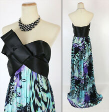 Jovani $400 Black Floral Prom Formal Long Gown Evening Dress Size 0 Strapless