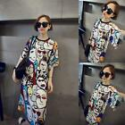 Women's Lady Summer Printed Party Dress Loose Long Tops T-shirt Blouse Plus Size