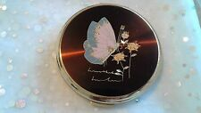 Vintage Stratton Powder Compact Goldtone Hand Engraved Pink Butterfly