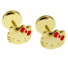 Gold Filled 18k Pink Enamel Hello KITTY Earrings Security Stud Infants Girl Baby