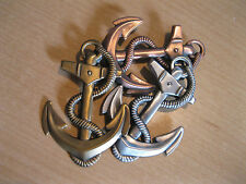 """ANCHOR'S"" BROOCH W/COPPER, BRASS AND SILVER FINISHES-SIGNED K&T PIECE!"