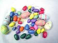 """Set of 45 Hand Painted Wood EASTER EGGS Decorations Egg Hunt Spring 1"""" - 1.5"""""""