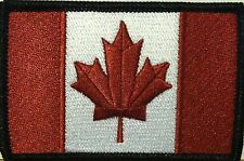 CANADA Flag Patch With VELCRO® Brand Fastener Burgundy & White Version #1