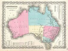 BEAUTIFUL 1855 FIRST EDITION EXAMPLE COLTON'S MAP AUSTRALIA POSTER 2962PYLV