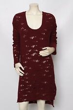 FREE PEOPLE Anthropologie Wine Purple Wool Holey Sweater Dress Sz M NWT
