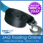 7.5M x 50mm H/DUTY BOAT TRAILER WINCH WEBBING STRAP & SNAP HOOK AS/NZS APPROVED