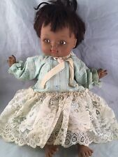 VINTAGE 1970 AFRICAN AMERICAN HORSMAN DOLL WITH GREEN DRESS AND LACE