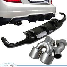 Combo Mercedes Benz C W204 LCI Carbon Fiber Rear Diffuser & Exhaust Tip Pipe