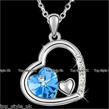Sapphire Blue Heart Diamond Necklace Pendant Jewellery Gift  Wife Girl Lady Mum