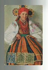 1919 Siedlce Poland Picture Postcard Cover to Italy Woman in Native Dress