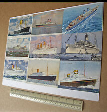 "20th Century Liners A3 Colour Postcard ""Printing Plate"" Empress of Scotland etc"