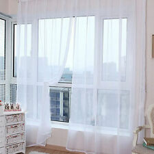 White Floral Tulle Voile Door Window Curtain Drape Panel Sheer Scarf Valances