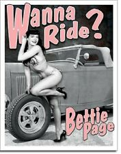 Bettie Page Wanna Ride Sexy Pin Up Retro Vintage Style Garage Metal Tin Sign New