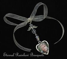 Heart Photo Frame Buttonhole Memory Charm - Angel Wings Groom Memory Charm
