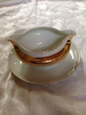 "Royal Bavarian China With Gold Trim Gravy Boat 8"" W 18 Carat Gold"