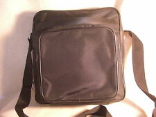 Non-Branded Black Nylon Fabric Flapless Messenger Bag w/ Leather Trim