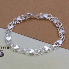Wholesale 925Sterling Silver Whole Small Hearts Chain Bracelet 10MM 20CM H293