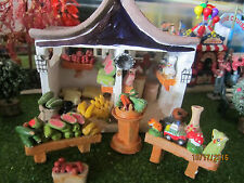 "TRAIN GARDEN HOUSE VILLAGE "" ROADSIDE PRODUCE STAND 5pc SET"" +DEPT 56/LEMAX info"
