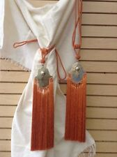 Pair of (2) Moroccan Silk Curtain Tassel Caidal Tieback Khamsa Hand Orange