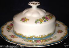 ROYAL ALBERT BONE CHINA CHELSEA BIRD ROUND COVERED BUTTER DISH TURQUOISE BLUE