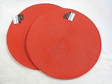 """KITCHEN PLACE MATS Set of 2 Solid RED 15"""" Round Woven"""