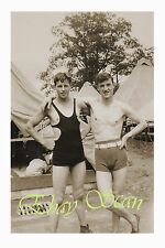 VINTAGE 1936 PHOTO NEAR NUDE YOUNG MEN HUGGING IN SWIM SUITS GAY INTEREST 34
