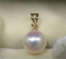 HUGE AAA 10-11MM NATURALSOUTH SEA GENUINE WHITE PEARL PENDANT NECKLACE 14K